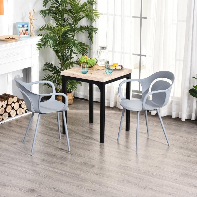 HOMCOM® 2-teiliges Esszimmerstuhl Set Stuhl Küchenstuhl Stahl Kunststoff Grau