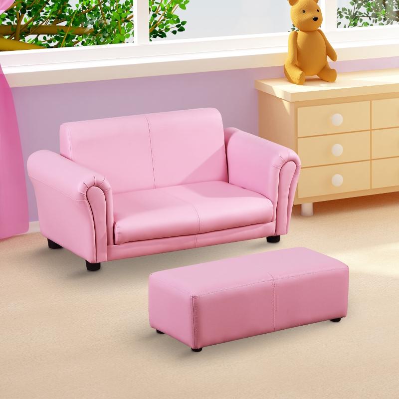 HOMCOM® Kindersofa mit Hocker rosa Sessel Kinder Softsofa