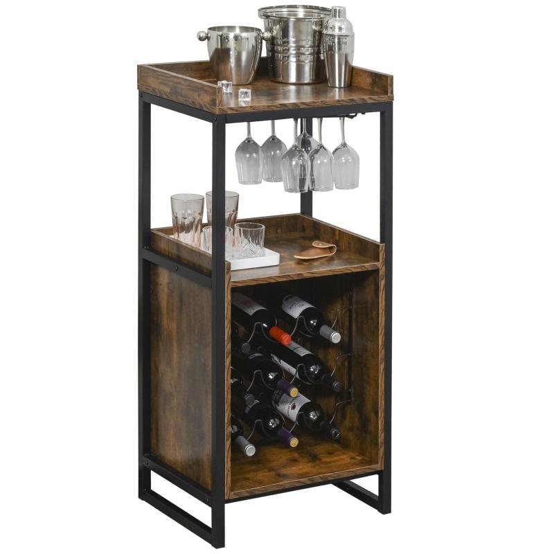 HOMCOM® Weinregal 9 Flaschen-Weinschrank mit 2 offenen Regalen und Glashalter Braun