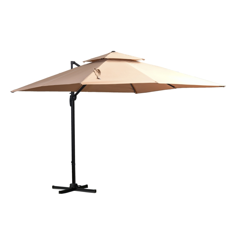 Outsunny® Sonnenschirm 3x3m Gartenschirm Alu Terrassenschirm 360 grad schwenkbar Khaki