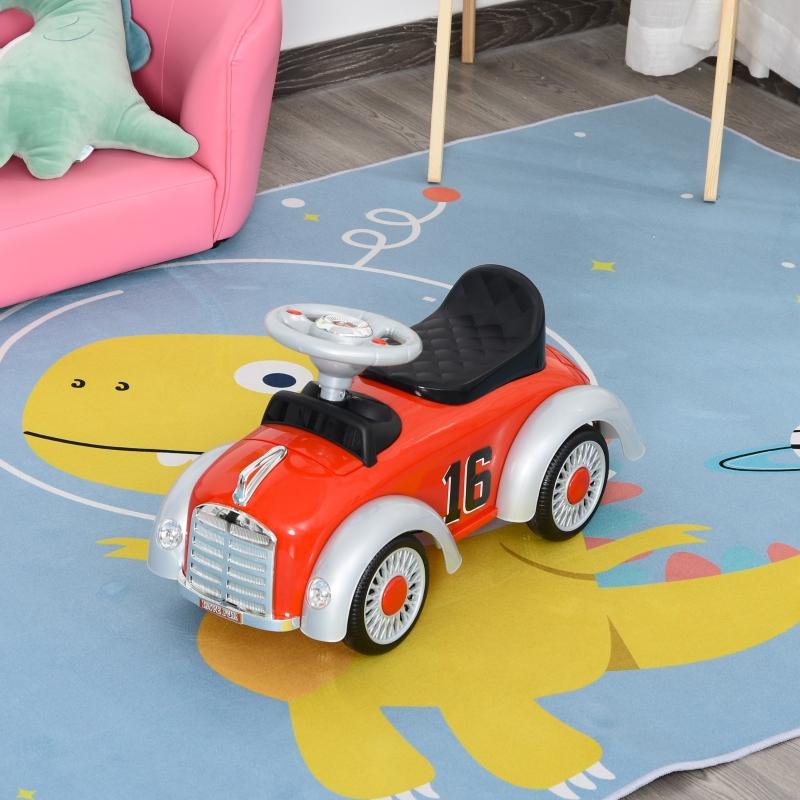 HOMCOM® Kinderauto Kinderfahrzeug klassisch Laufhilfe Hupe mit Music(Rot)