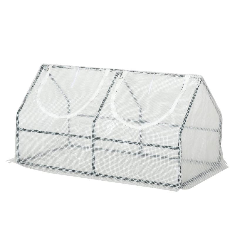 Outsunny® Gewächshaus mit Fenster PE Treibhaus Tomatenhaus Frühbeet 120x60x60cm Weiß