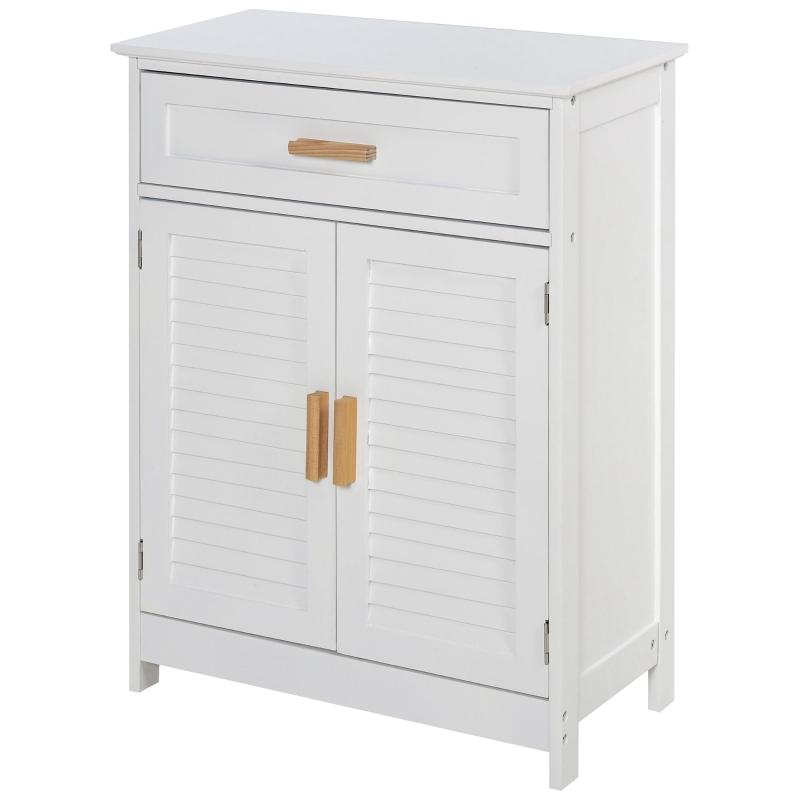 kleankin® Badezimmerregal Multifunktionsschrank mit 1 Schublade 1 Türschrank Weiß