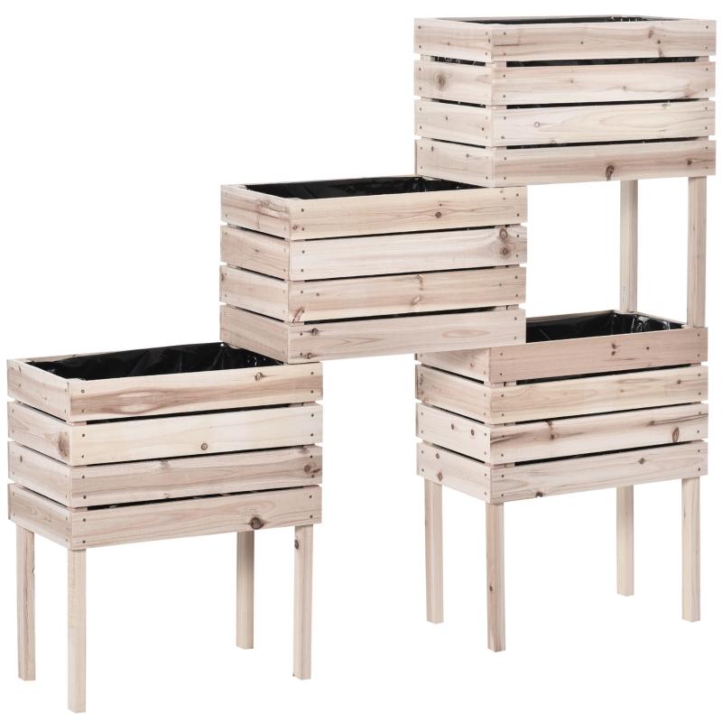 Outsunny® 4 tlg. Hochbeet aus Holz 4 Kombinationsmodi Garten Balkon 50 x 30 x 60 cm Natur