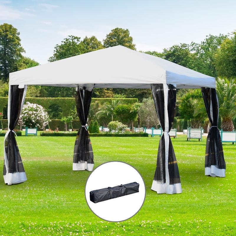 Outsunny® Faltpavillon Faltzelt mit Seitenwänden 3x3m Weiß