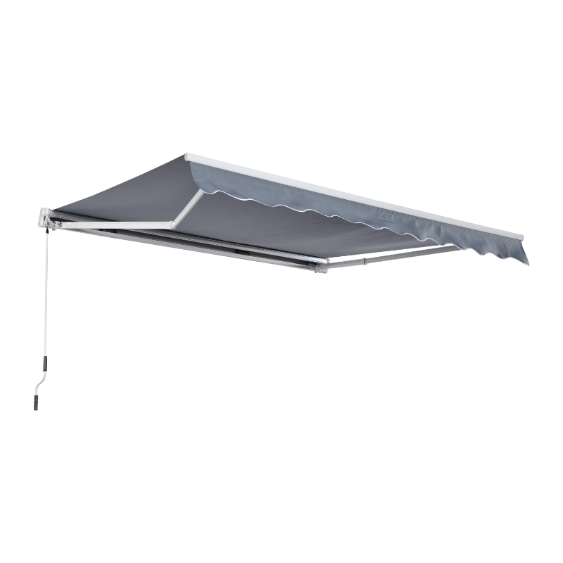 Outsunny® Markise Alu-Markise Aluminium-Gelenkarm-Markise 3x4m Sonnenschutz Balkon Grau