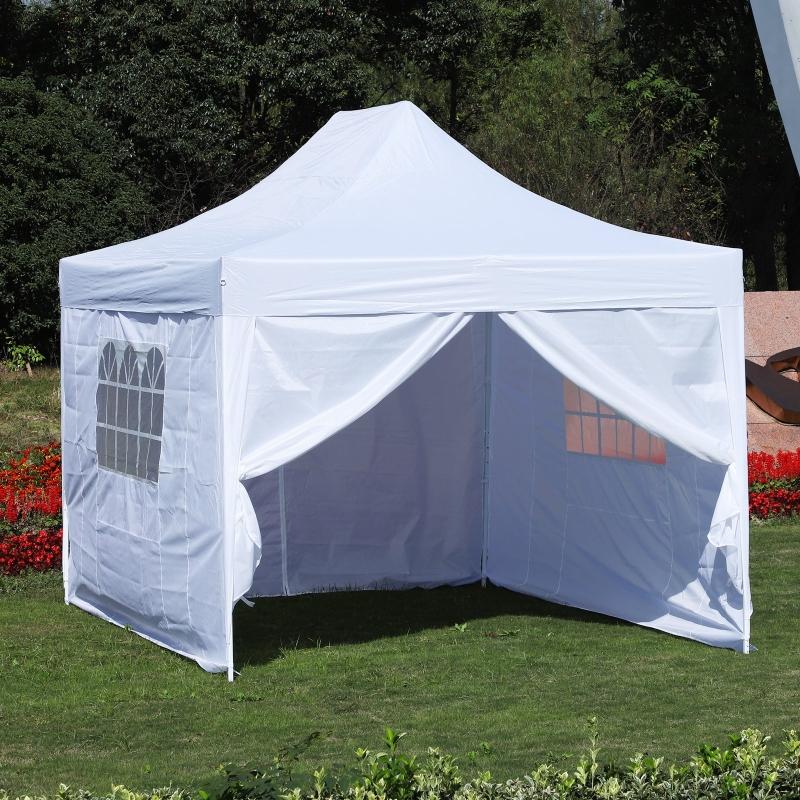 Outsunny® Faltpavillon inkl. 4 Seitenteilen weiß 3x4,5m Faltzelt Partyzelt