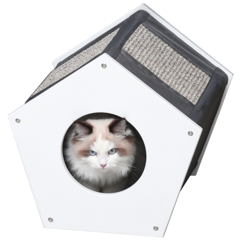 PawHut® Katzenhöhle mit 2 Kraztbrette Kratzhaus Katzenhaus MDF Oxford Weiß