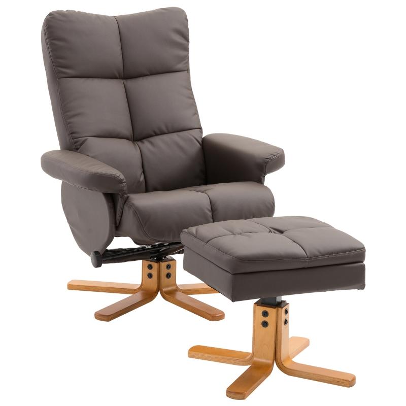 HOMCOM® Relaxsessel mit Hocker Fernsehsessel 360° drehbar Liegefunktion Holz Braun