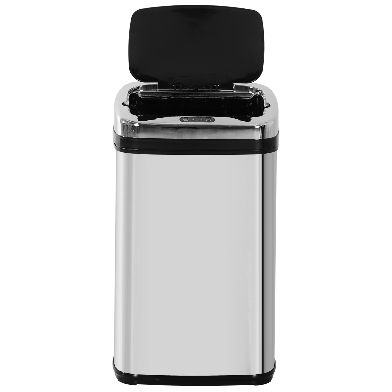 HOMCOM® Mülleimer Edelstahl Automatik Sensor 30L Abfalleimer IR Sensor (viereckig)