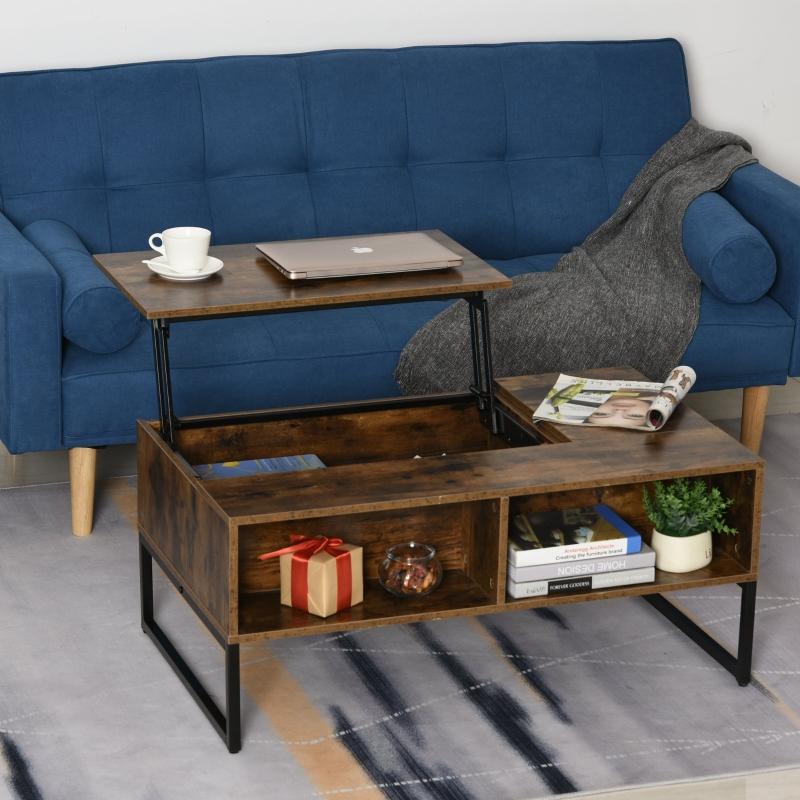 HOMCOM® Couchtisch Wohnzimmertisch Kaffeetisch mit Höhenverstellbarer Platte Braun