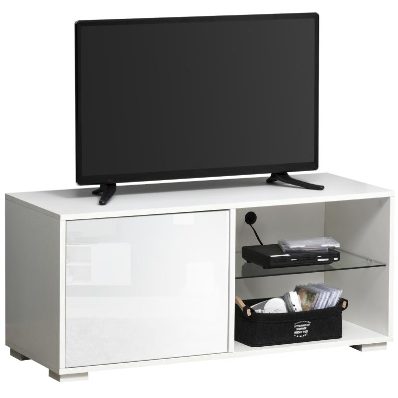 HOMCOM® TV Schrank TV-Kommode mit Schubladen und Offene Regale Spanplatte Glas Weiß
