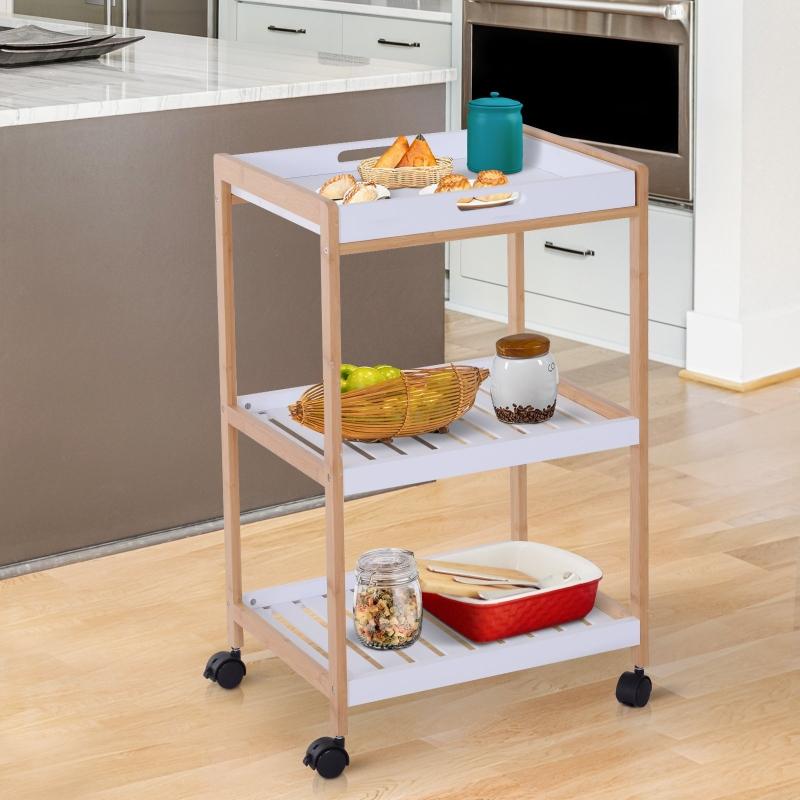 HOMCOM® Küchenwagen rollbar Servierwagen Küchentrolley abnehmbare Topplatte 46 x 35 x 74,5 cm