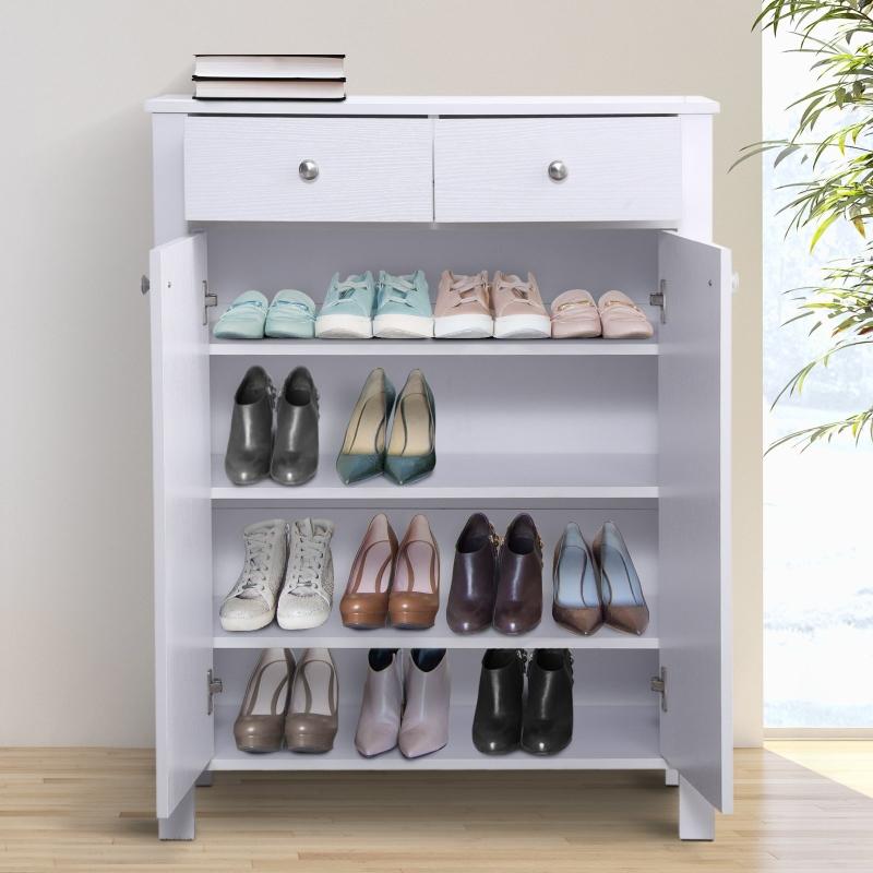 HOMCOM® Schuhschrank Schuhregal Schuhkommode 2 Schublade Weiß