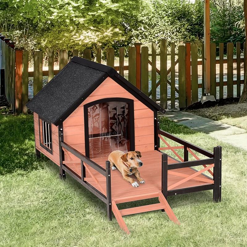 PawHut® Hundehütte mit Terrasse   Hundehaus   Massivholz   Braun   91 x 194,5 x 83 cm
