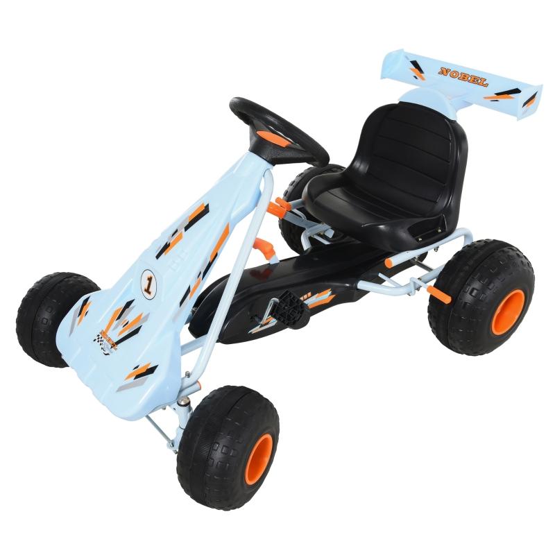 HOMCOM® Go Kart Mit Pedal Kinderfahrzeug Tretauto mit Pedal für 3-8 Jahre Stahl Hellblau
