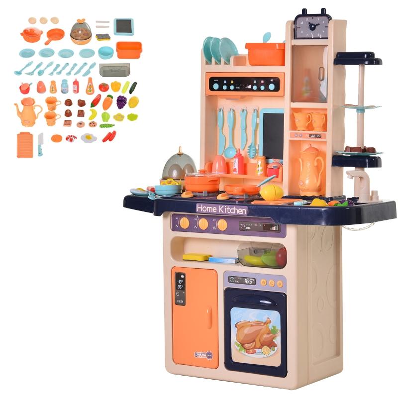HOMCOM® Kinderküche mit Zubehör Spielküche 65–teilige Spielzeugküche für 3–6 Jahre Blau