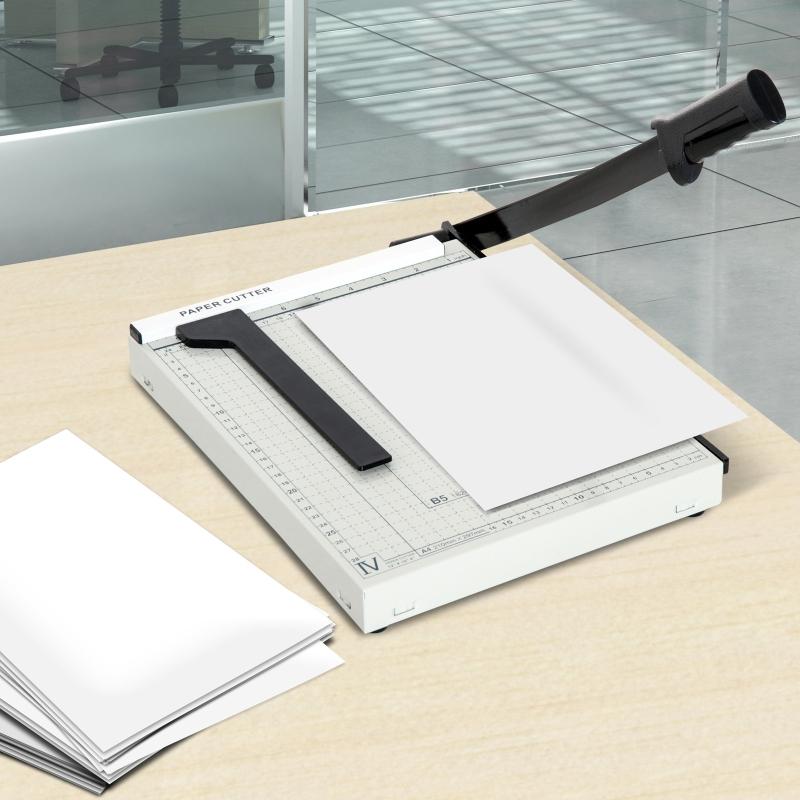 HOMCOM® Papierschneidemaschine Hebelschneider Papierschneider Metall Weiß