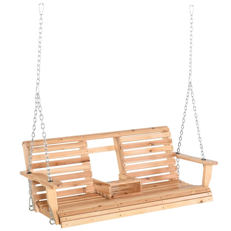 Outsunny® Gartenschaukel Holz 2-3 Personen Patio 150 x 75 x 53 cm Natur
