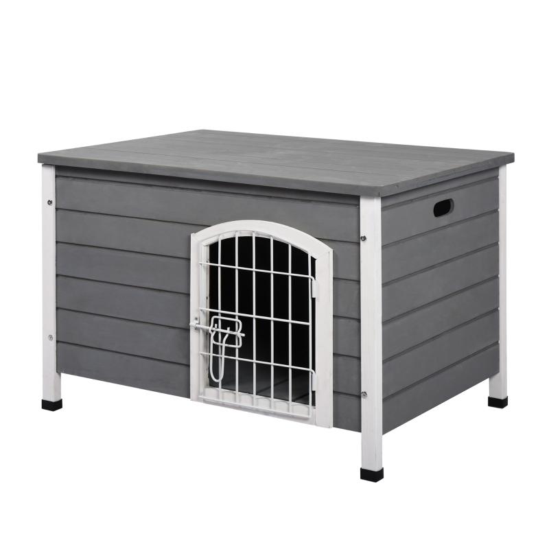 PawHut® Hundekäfig mit Tür Hundebox Gitterbox TransportKäfig für Katzen Tanne Grau