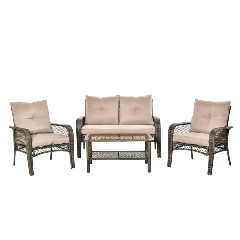 Outsunny® 4-tlg. Gartensitzgruppe mit Beistelltisch Rattan Gartenset Polyrattan Metall