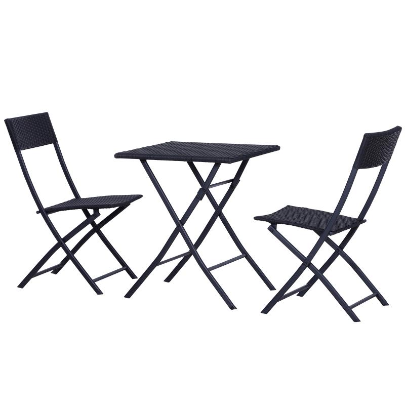 Outsunny® Polyrattan Gartenmöbelset | Balkonset | Dreiteilig | Schwarz | 60 x 60 x 72 cm (Tisch)
