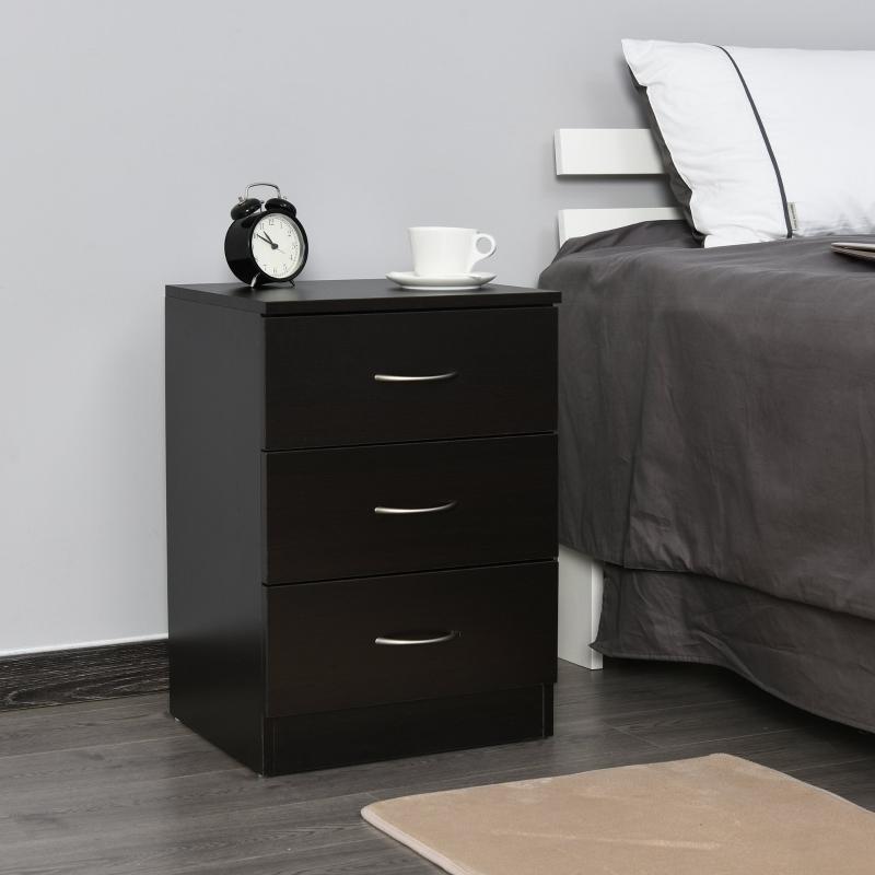 HOMCOM® Nachttisch mit 3 Schublade Schlafzimmer Nachtschrank Nachtkommode E1 Spanplatte