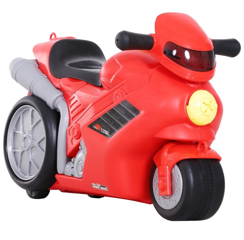 HOMCOM® Kinderkoffer Motorrad Kindergepäck Handgepäck mit Gurt zum Sitzen Rot Räder