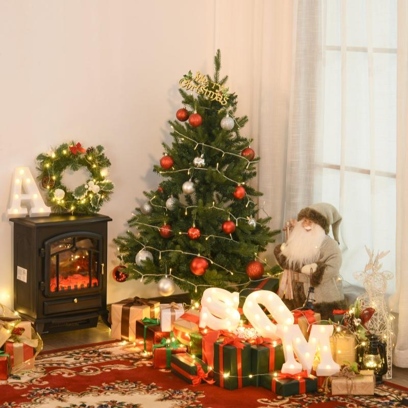 HOMCOM® Weihnachtsbaum für Tisch 0,6 m kleiner Christbaum 70 Zweige Leinen PVC Zement