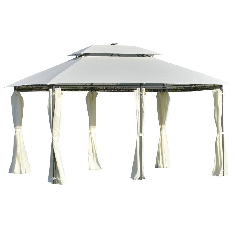 Outsunny® Gartenpavillon 4 x 3m Pavillon Gartenzelt Festzelt mit LED Licht Stahl Polyester