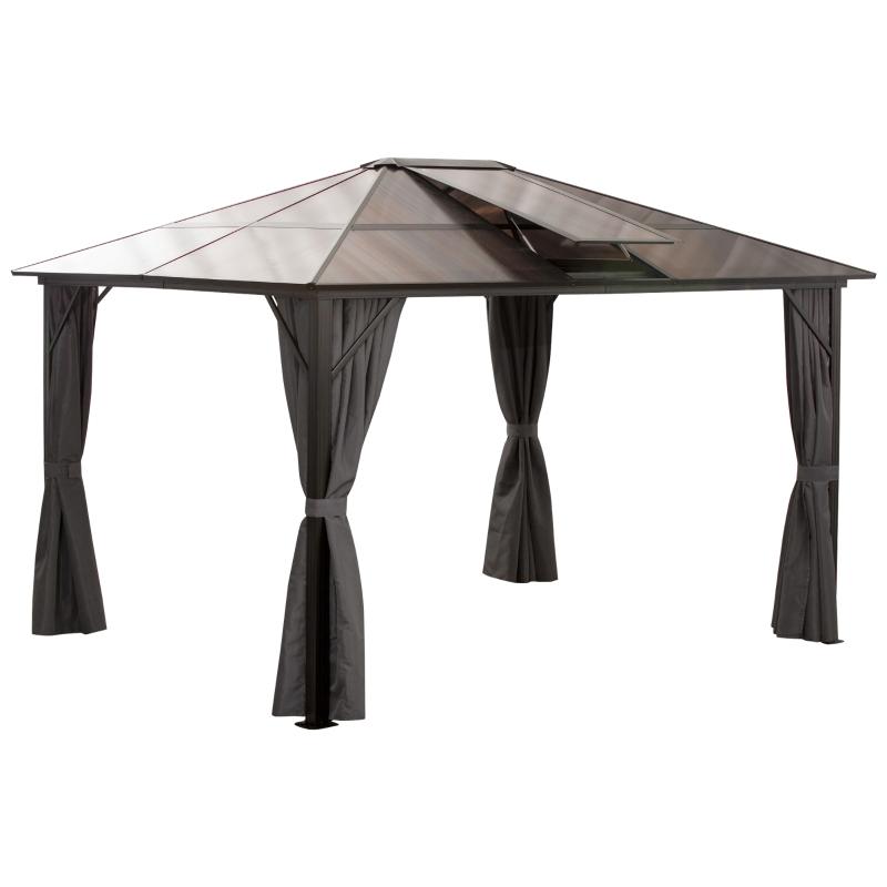 Outsunny® Pavillon Gartenpavillon Partyzelt mit Seitenteilen PC Dach Alu Braun 3,45x2,8cm