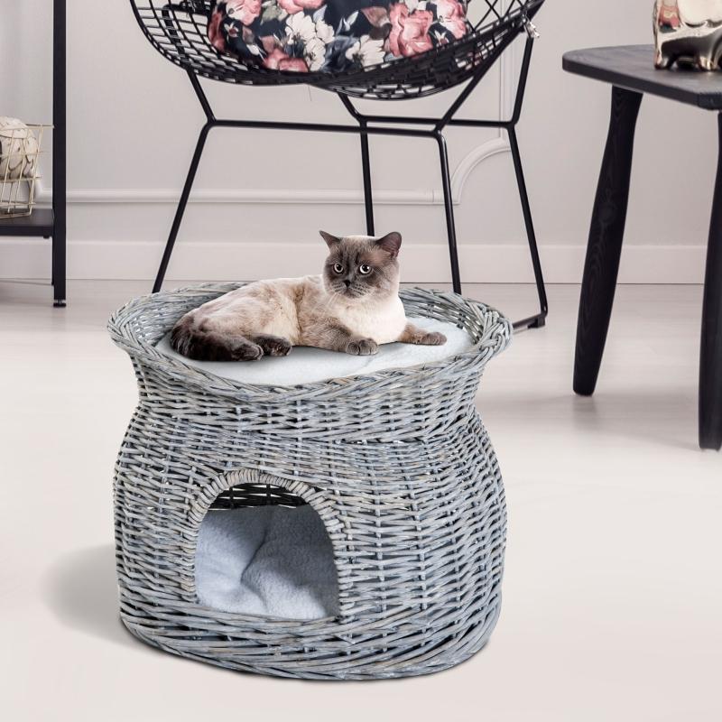 PawHut® Katzenhaus Katzenkorb Katzenhöhle 2 stöckiger Katzenturm 2 Kissen Weide Grau