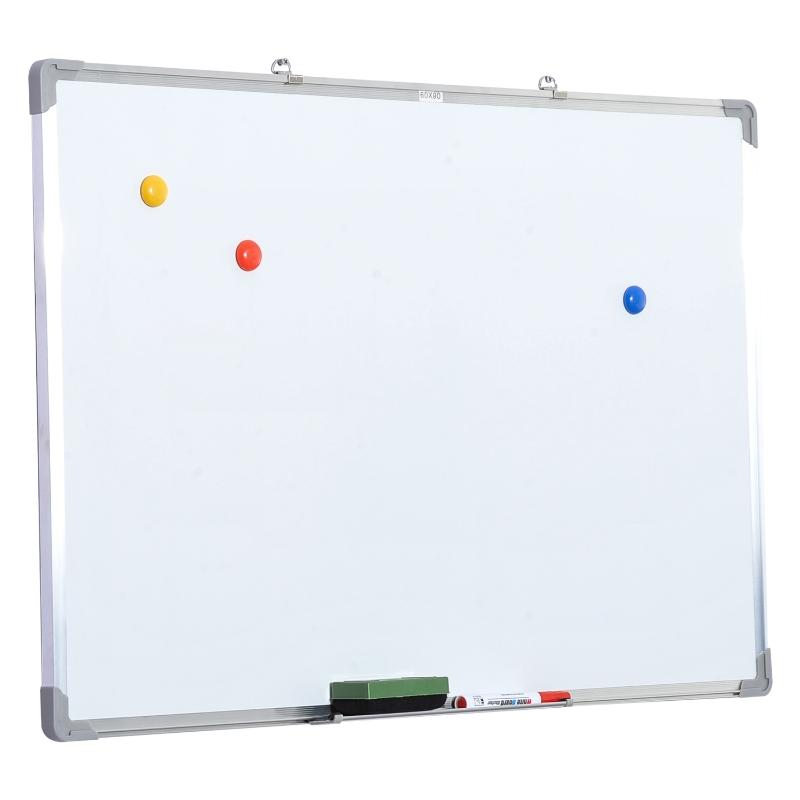 HOMCOM® Whiteboard Magnettafel Wandtafel Weißwandtafel mit Zubehör 90x60cm