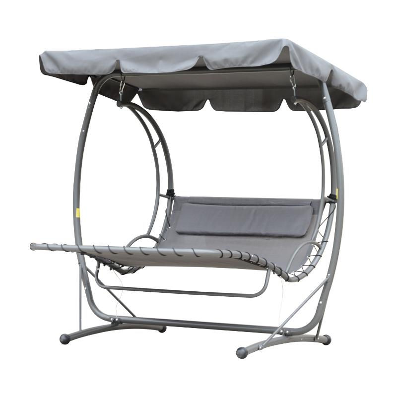 Outsunny® Schwebeliege Hollywoodschaukel mit Dach 2 Sitzer Metall Grau