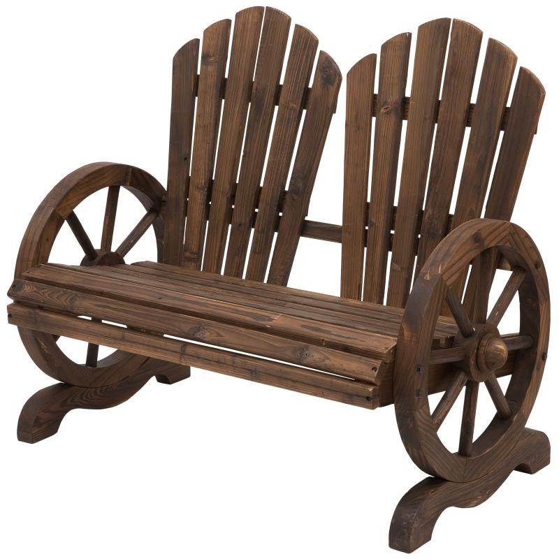 Outsunny® Gartenbank Sitzbank mit Armlehne Gartenmöbel Massivholz Dunkelbraun