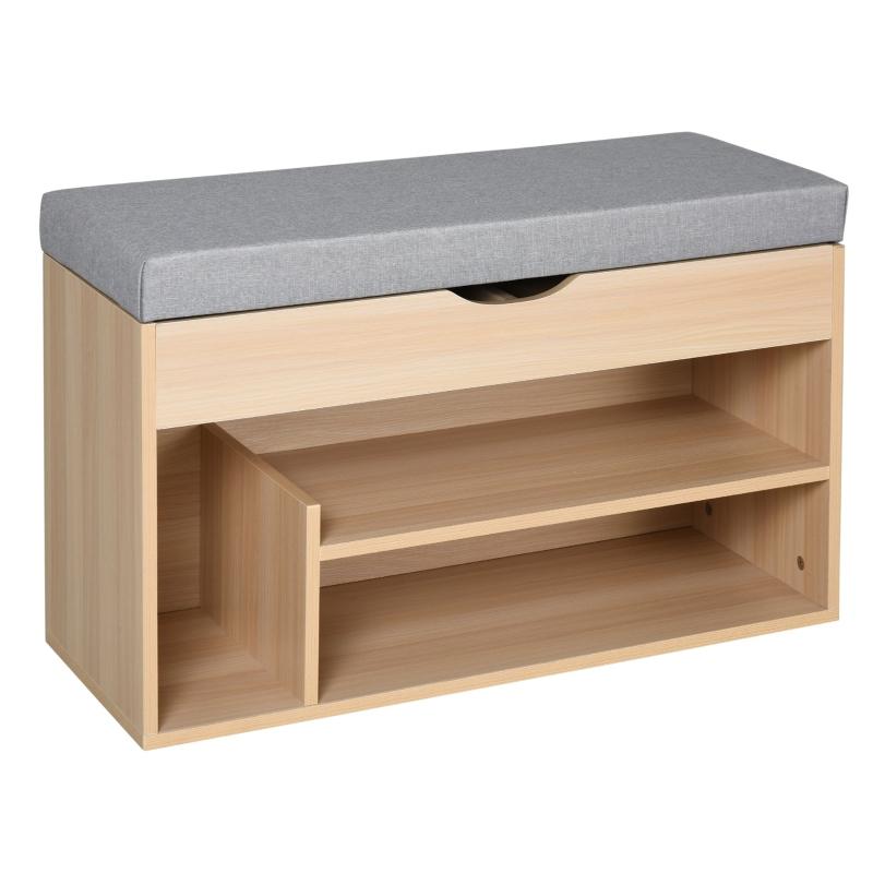 HOMCOM® Schuhbank Sitzbank Sitztruhe 2-in-1 Design mit Schuhregal Versteckten Fach