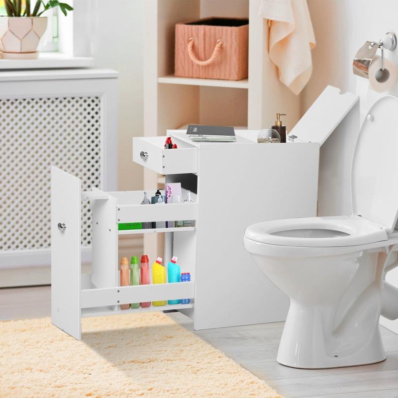 HOMCOM® Badmöbel Badezimmerschrank Badschrank mit 2 Schubladen und 1 Ablagefach Holz Weiß 48 x 17 x 58 cm