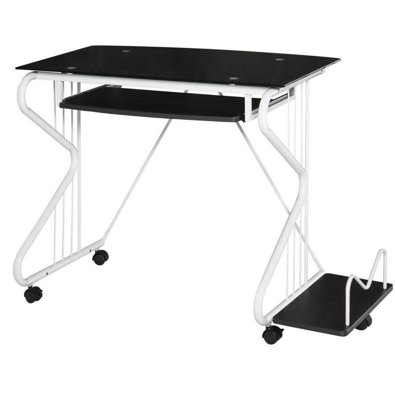 HOMCOM® Schreibtisch Computertisch PCTisch Bürotisch Spanplatte Stahl E1MDF Schwarz+Weiß