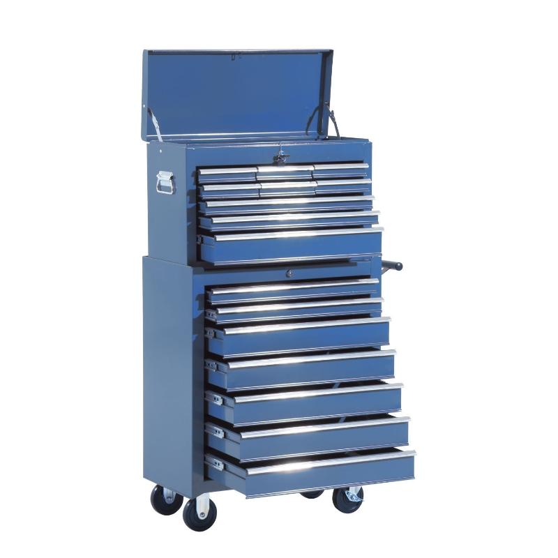 HOMCOM Fahrbarer Werkstattwagen   Abschließbar   16 Schubladen   Stahl   61,5 x 33 x 113 cm   blau