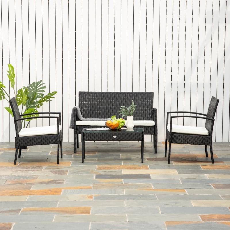 Outsunny® Polyrattan Sitzgruppe Gartenset Garnitur Sofa 7 tlg. mit Kissen Schwarz
