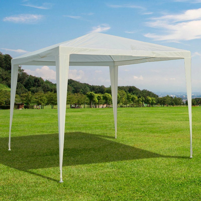 Outsunny® Gartenpavillon Partyzelt Gartenzelt Festzelt Klicksystem 90 g/m² PE-Plane Stahl Weiß 2,7 x 2,7 m