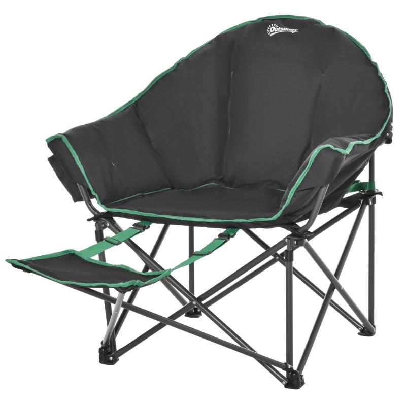 Outsunny® Campingstuhl Klappstuhl mit Fußstütze 160 kg Belastung Oxford Schwarz+Grün