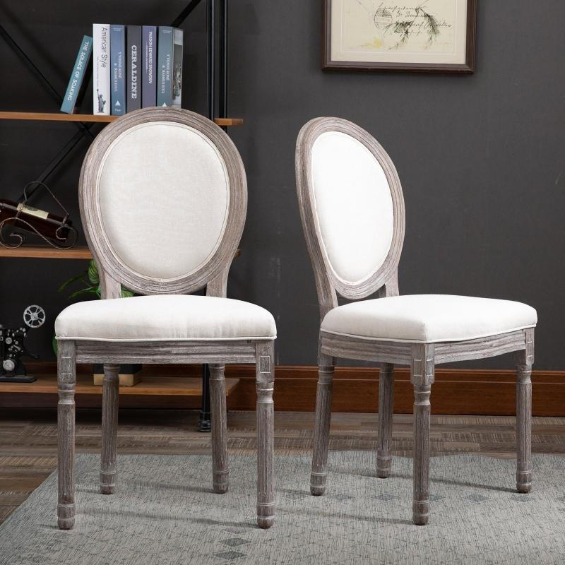 HOMCOM® 2er Set Esszimmerstuhl Retro-Design Küchenstuhl Polsterstuhl mit Fußmatten Leinen B51 x T51 x H96 cm