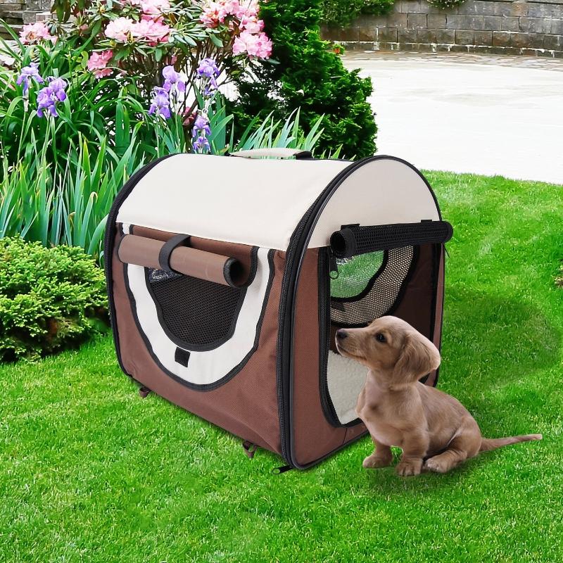 PawHut® Hundetransportbox, faltbar, Größe S - 46x36x41 cm, kaffeebraun-creme