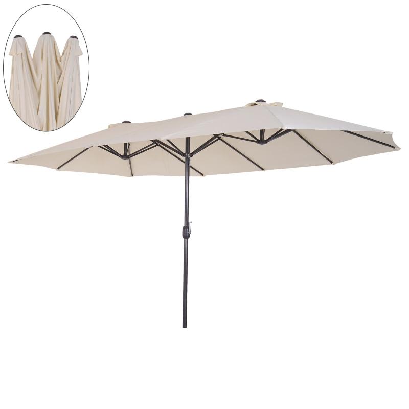Outsunny® balkon Sonnenschirm mit Handkurbel Gartenschirm Marktschirm Doppel 460x270cm Beige