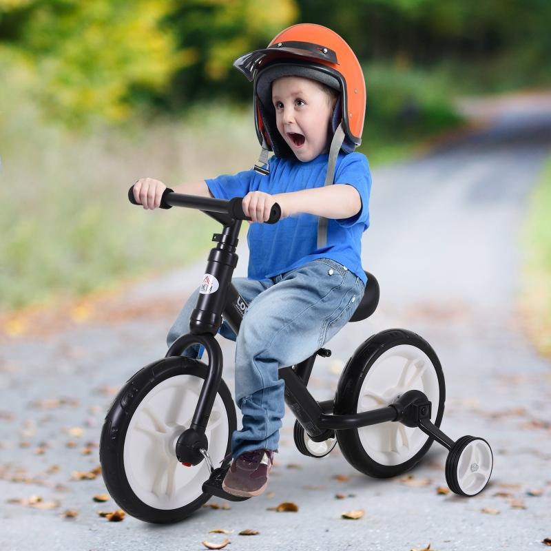 HOMCOM® Laufrad Kinderfahrrad Lauflernrad 2-in-1 Stützräder Pedale 2-5 Jahre PP Schwarz