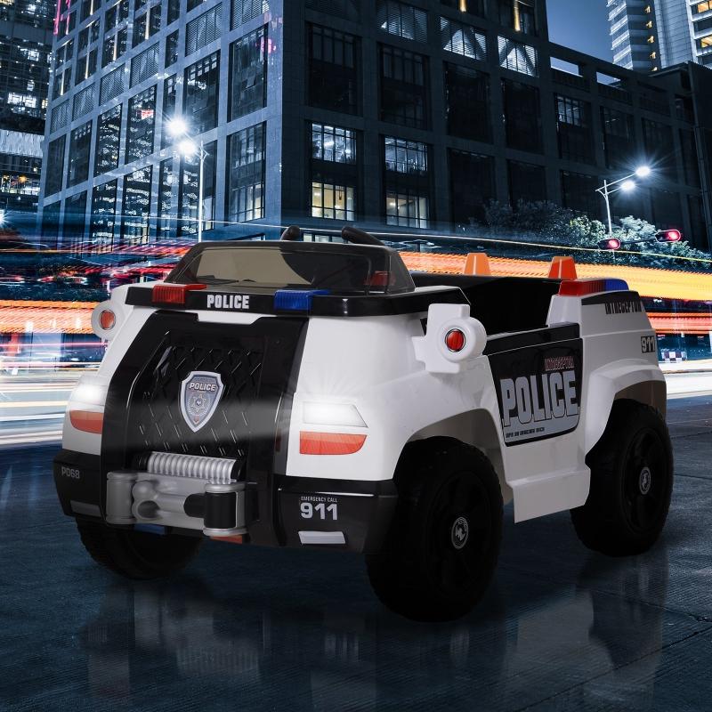 HOMCOM® Polizeiauto Elektro Kinderauto mit Fernbedienung MP3 106,5 x 66 x 52,6 cm