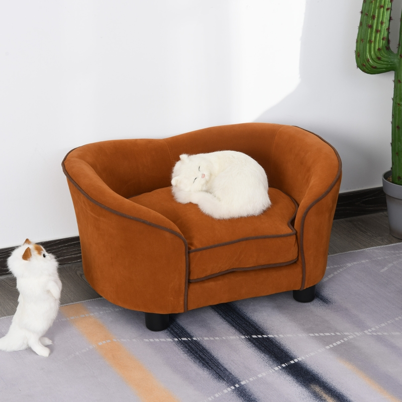 PawHut® Hundecouch Haustiersofa Katzensofa Hundesofa Hundebett Hundematte Plüsch Braun