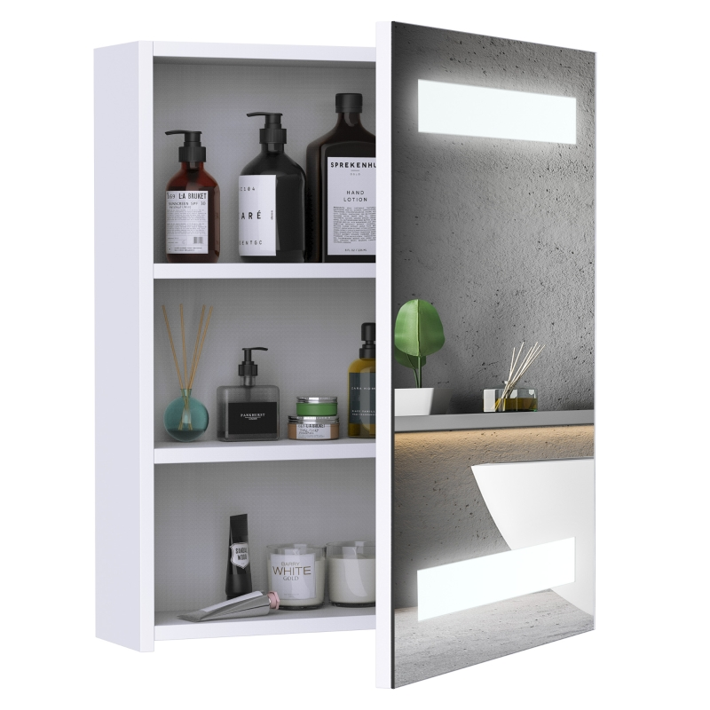 HOMCOM® LED Spiegelschrank | Glas, MDF | 15W | 15 x 50 x 60 cm | Silber