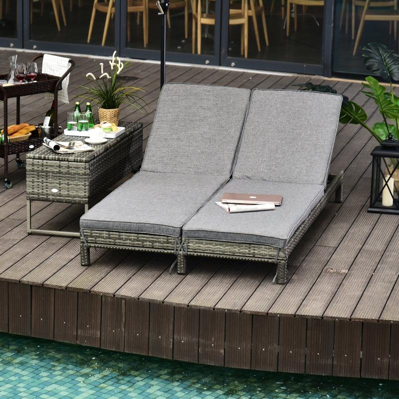 Outsunny® Garten Doppelliege für 2 Personen   Relaxliege   Metall, PE Rattan   Grau   195 x 120 x 28 cm